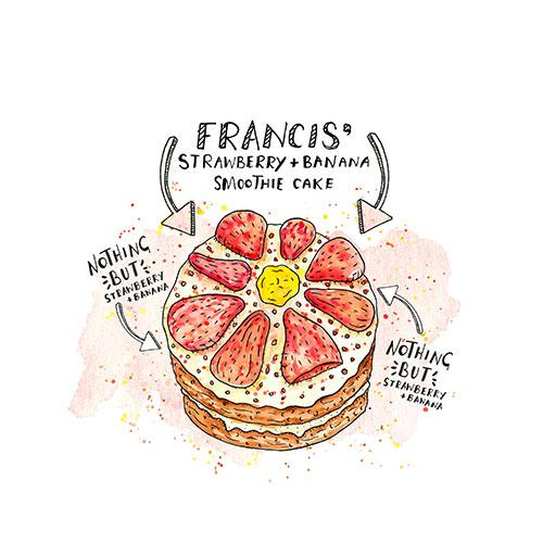 Frances's Strawberry and Banana Smoothie Cake